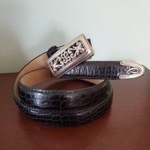 Brighton Black Leather Belt M